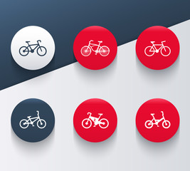 bicycle flat round icons on abstract geometrical background