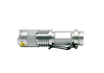 isolated silver flashlight on white background