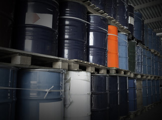 Oil Drums in a warehouse