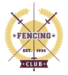Fencing Club emblem with crossed foils, vector, eps10
