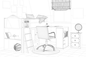 Kinderzimmer in Planung mit Bett und Schreibtisch