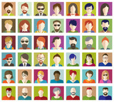 Fototapety Set of People Flat icons.