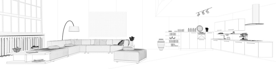 Panorama mit Skizze eines Lofts mit Wohnküche
