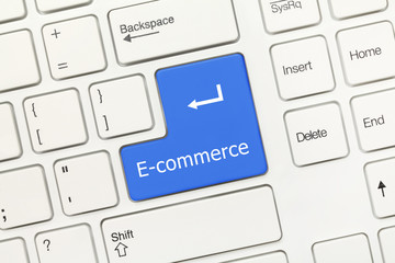 White conceptual keyboard - E-commerce (blue key)