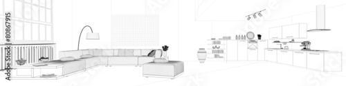 Panorama mit Skizze eines Lofts mit Wohnküche - 80867915