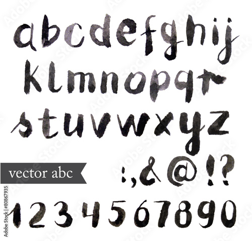 Vector Watercolor Alphabet. Brush font.