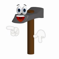 Funny Hammer Cartoon Illustration Tool Tools