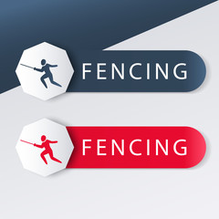 Fencing logo with fencer with foil in blue and red