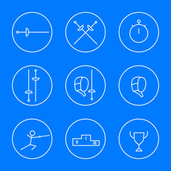 Fencing line white icons, vector illustration, eps10