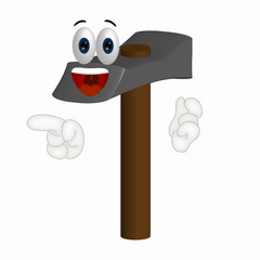 Funny Hammer Cartoon Illustration Tool Tools