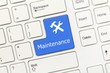 Leinwandbild Motiv White conceptual keyboard - Maintenance (blue key)