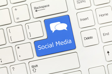 White conceptual keyboard - Social Media (blue key)