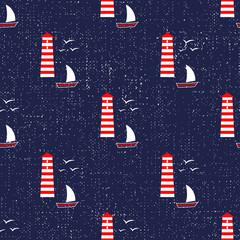 Cute seamless nautical background.