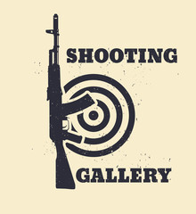 Shooting Gallery Grunge emblem with assault rifle, vector, eps10