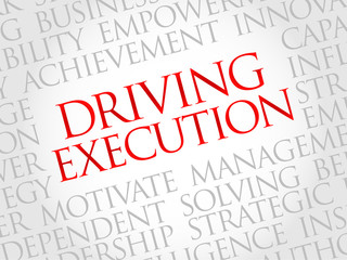 Driving Execution word cloud, business concept