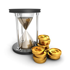 Hourglass With Golden Dollar Coins. Time Is Money Concept