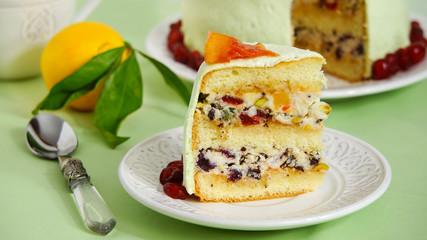 Cassata cake - traditional sweet for Easter, Sicily, Italy