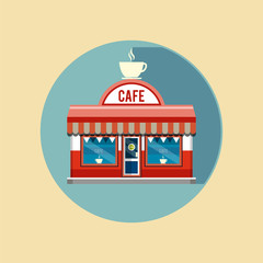 Cafe facade of the building with the sign. Flat style illustrati
