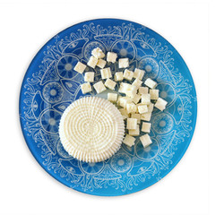 top view of greek cheese and bulgarian cheese on wooden table ov