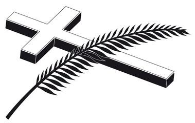 Trauermotiv: Dreidimensionales Kruzifix mit Zweig, Vektor