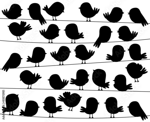 Cute Cartoon Style Bird Silhouettes in Vector Format - 80870981