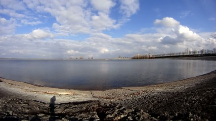 Timelapse on surface of river Dnieper
