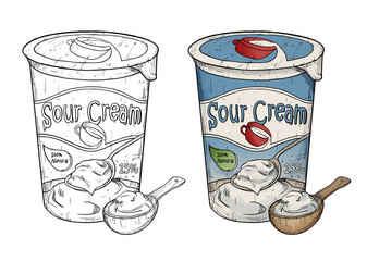 Hand drawn line art illustration of sour cream with wooden spoon