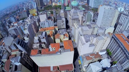 Aerial shot of the City of Sao Paulo financial district