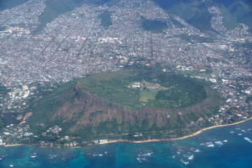 Aerial of Diamond Head Crater, Kaimuki, Kahala, and Honolulu