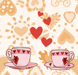 Two cups with hearts for Valentine