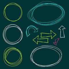 Hand Drawn Scribble Circles, vector design elements