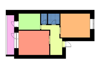 Floor plan one bedroom apartment in bright colors