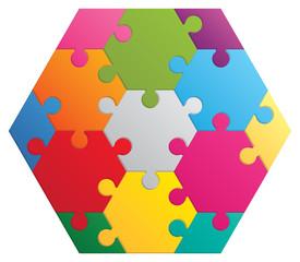Hexagon puzzle. 13 color parts.