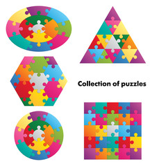 Collection of puzzles. 4 colorful figures.