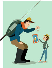 Father going fishing with a digital age kid