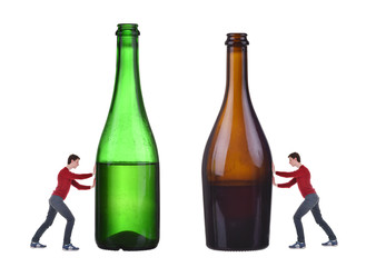 No alcohol, man push bottle with alcohol