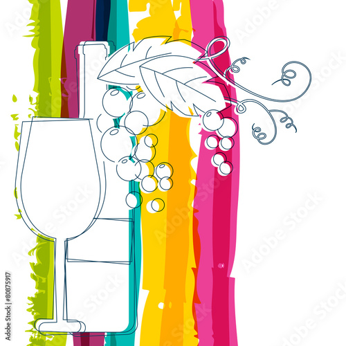 Wine bottle, glass, branch of grape with leaves and rainbow stri - 80875917