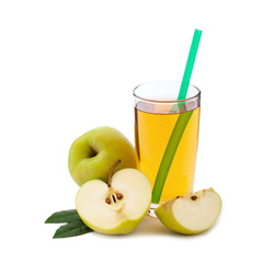 apple juice in glass isolated