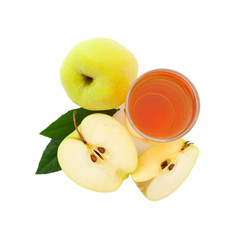 apple juice in glass top view isolated