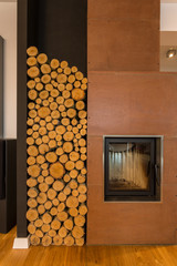 Fireplace and wood pieces