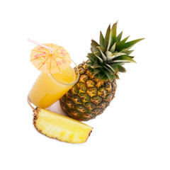 Tropical fruit pineapple, glass juice on white background.