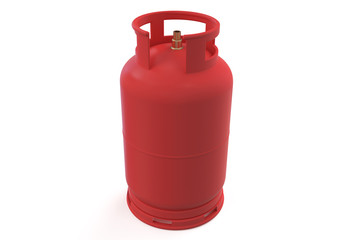 A red gas cylinder