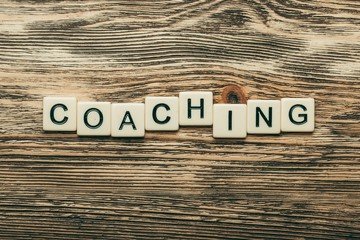 Life. Coaching word on a wooden blocks