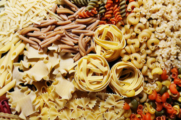 Different types of pasta, macro view
