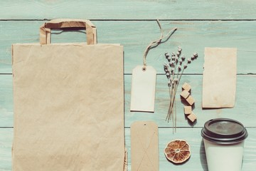 Food. Coffee identity mockup set with retro filter effect