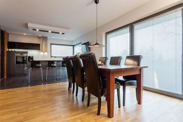 Dining room in elegant flat
