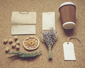 Branding. Coffee identity and craft mockup set with retro filter