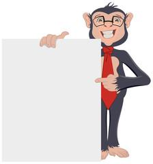 Monkey Businessman showing sheet of paper