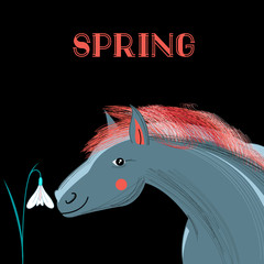 Spring card with a picture of  horse