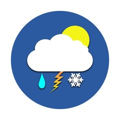Sun, cloud, rain, snow, thunder circle icon